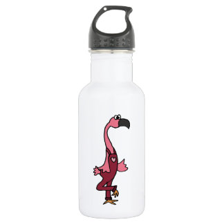 Funny Pink Flamingo Bird in Pink Overalls Stainless Steel Water Bottle
