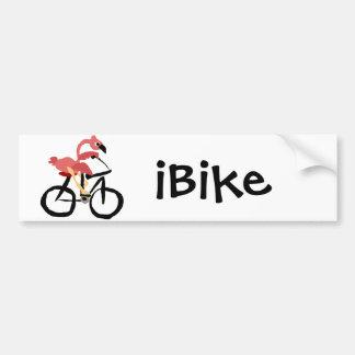 Funny Pink Flamingo Bird on Bicycle Car Bumper Sticker