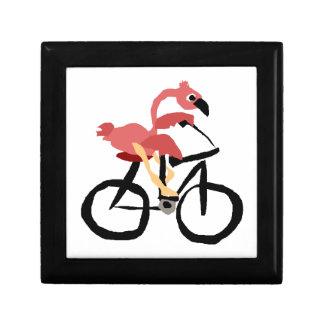 Funny Pink Flamingo Bird on Bicycle Gift Box