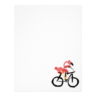 Funny Pink Flamingo Bird on Bicycle Letterhead
