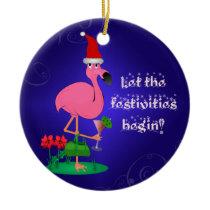 Funny Pink Flamingo Christmas Ornament