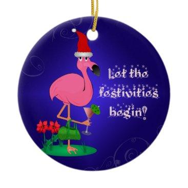 Christmas Themed Funny Pink Flamingo Christmas Ornament