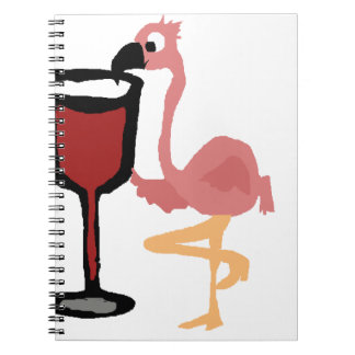 Funny Pink Flamingo Drinking Red Wine Note Books