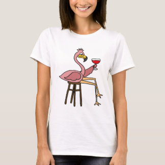 Funny Pink Flamingo Drinking Red Wine T-Shirt