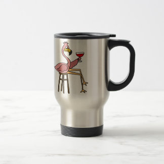 Funny Pink Flamingo Drinking Red Wine Travel Mug