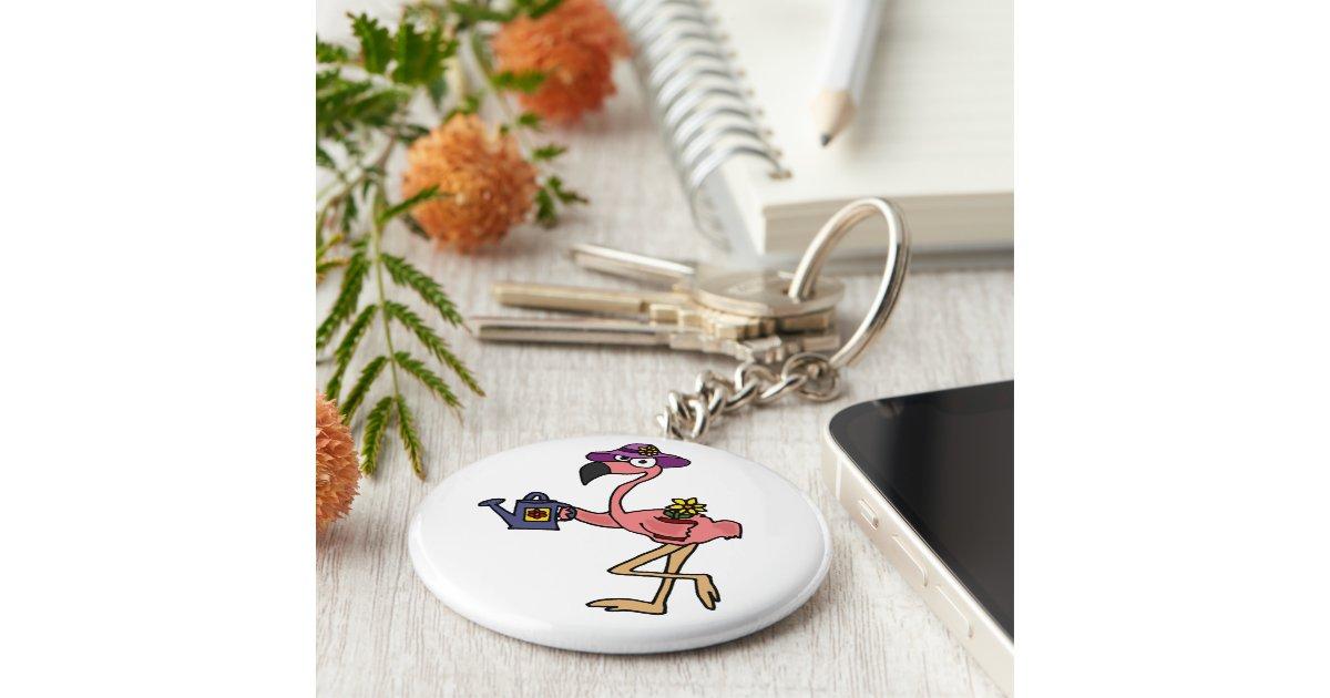 Funny Pink Flamingo Gardening Design Basic Round Button