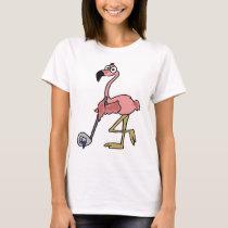 Funny Pink Flamingo Golfing Art T-Shirt