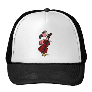 Funny Pink Flamingo Playing Cello Hat