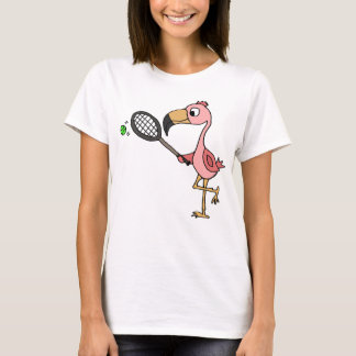 Funny Pink Flamingo Playing Tennis T-Shirt