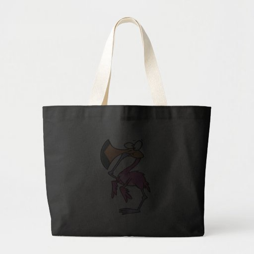 funny pink flamingo with foot in mouth bag