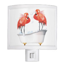 Funny Pink Flamingos in the Bath Tub Night Light