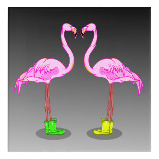 Funny Pink Flamingos Wearing Rubber Boots Acrylic Wall Art