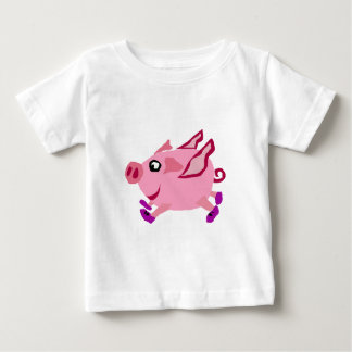 Funny Pink Flying Pig with Purple Sneakers Baby T-Shirt