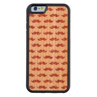 Funny Pink Glitter Mustache Pattern Printed Carved Cherry iPhone 6 Bumper Case