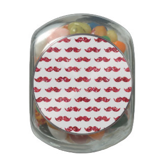 Funny Pink Glitter Mustache Pattern Printed Jelly Belly Candy Jar