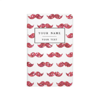Funny Pink Glitter Mustache Pattern Printed Journal