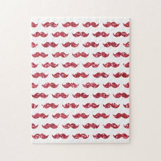 Funny Pink Glitter Mustache Pattern Printed Jigsaw Puzzle
