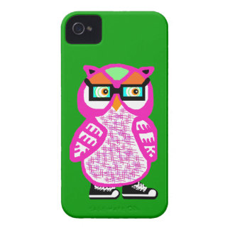 Funny Pink Hipster Owl Green iPhone 4 Case