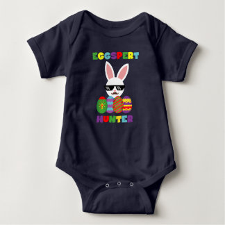 Funny Pink Hopping Easter Bunny for Egg Hunters Baby Bodysuit