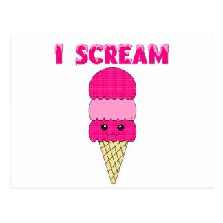 Funny Pink Ice Cream Postcard