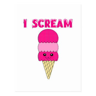 Funny Pink Ice Cream Postcard