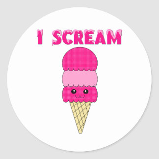 Funny Pink Ice Cream Stickers
