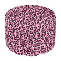 funny pink leopard spots,animal print round pouf