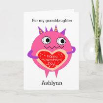 Funny Pink Monster Valentine Granddaughter Holiday Card