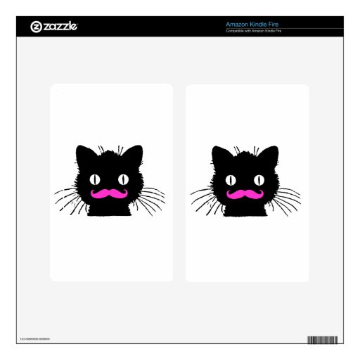 FUNNY PINK MUSTACHE BLACK CAT DECAL FOR KINDLE FIRE