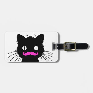 FUNNY PINK MUSTACHE BLACK CAT TAG FOR LUGGAGE