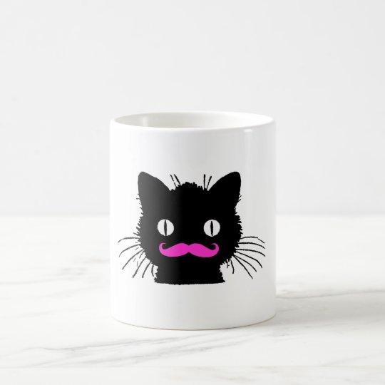 Funny Pink Mustache Vintage Black Cat Coffee Mug Zazzle Com