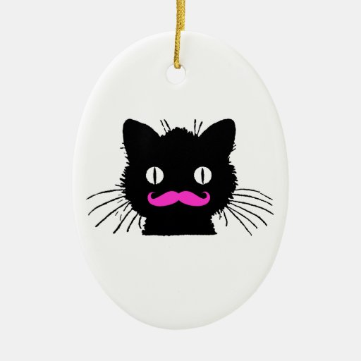 FUNNY PINK MUSTACHE VINTAGE BLACK CAT Double-Sided OVAL CERAMIC CHRISTMAS ORNAMENT