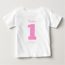 Funny Pink Number 1 Cute Chick Girls 1st Birthday Baby T-Shirt