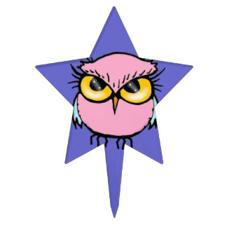Funny Pink Owl Cute Kids Cake Topper