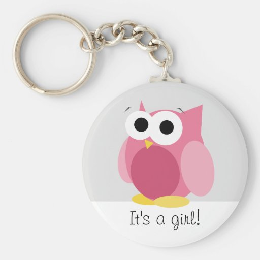 Funny Pink Owl - It's a girl! - Keychain