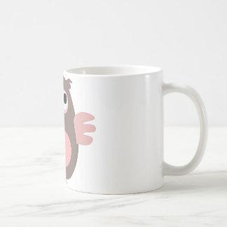 Funny pink owl mugs