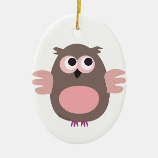 Funny pink owl christmas ornament