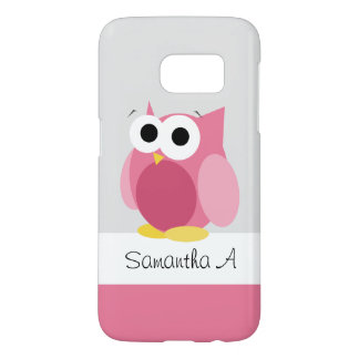 Funny Pink Owl - Personalized Samsung Galaxy S7