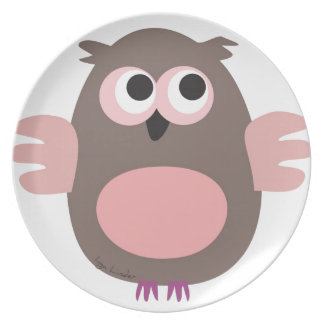 Funny pink owl plate
