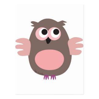 Funny pink owl postcard