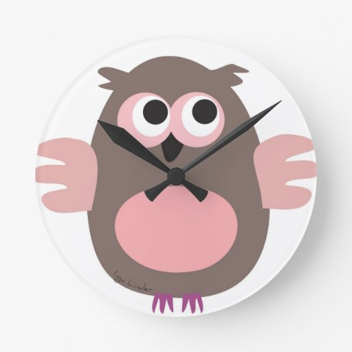 Funny pink owl round wallclock