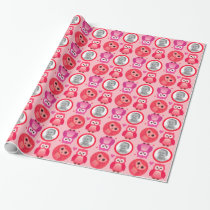 Funny pink owls baby pattern wrapping paper