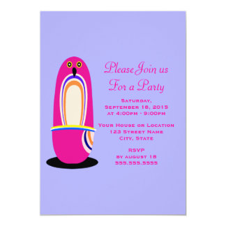 Funny Pink Penguin Cartoon Generic Party Card