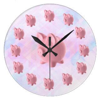 Funny Pink Pig Design Large Clock