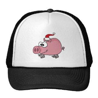 Funny Pink Pig in Santa Hat