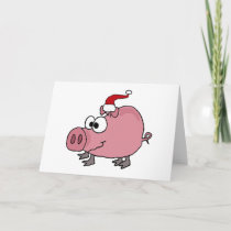 Funny Pink Pig in Santa Hat Holiday Card