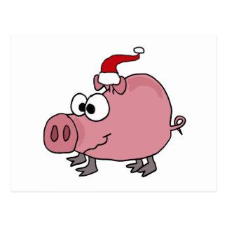 Funny Pink Pig in Santa Hat Postcard