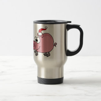 Funny Pink Pig in Santa Hat Travel Mug