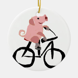 Funny Pink Pig Riding Bicycle Ceramic Ornament