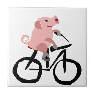 Funny Pink Pig Riding Bicycle Ceramic Tile